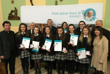 Achonry Pope John Paul II Award receipients from St Attracta's, Tubbercurry