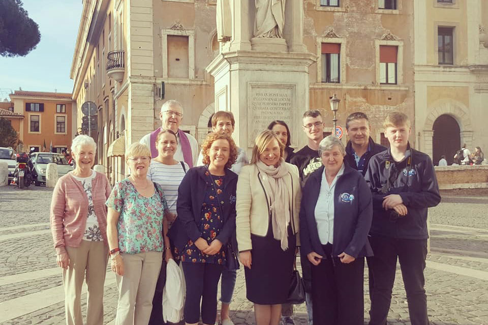 Irish Ambassador to the Holy See Emma Madigan meets the Award pilgrims
