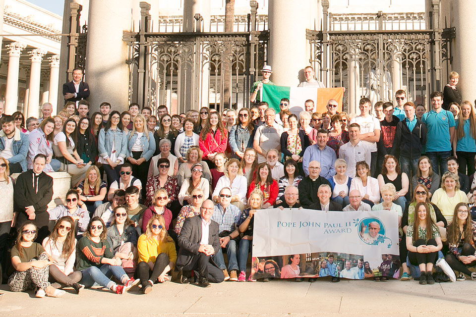 The group of Pope John Paul II Award pilgrims Rome 2017