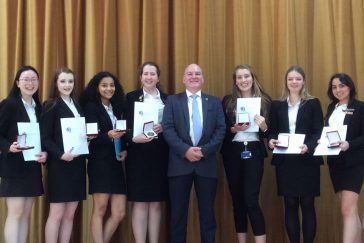 Award presentation at Marist School, Berkshire