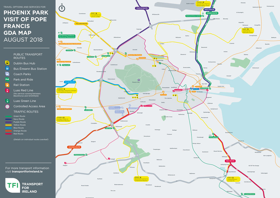 TFI Papal visit transport greater Dublin area map