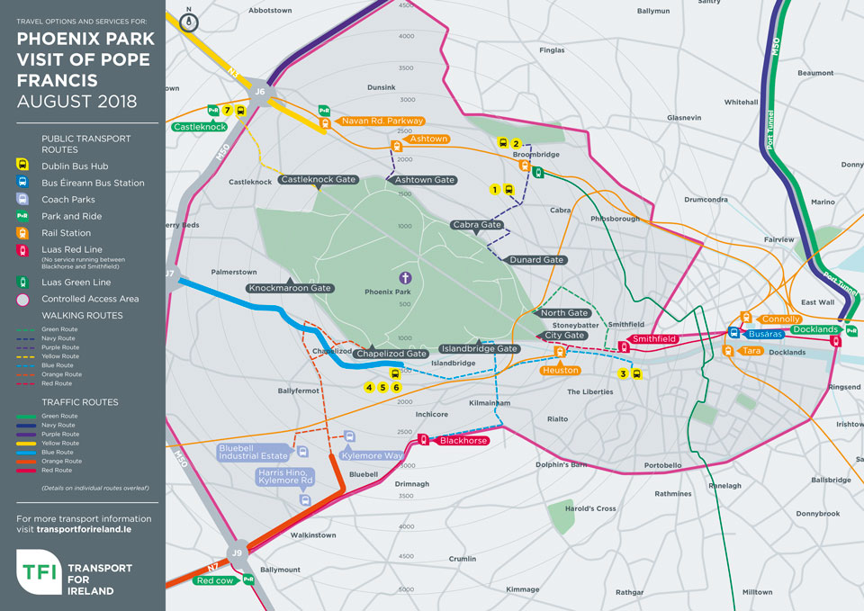 Dublin area transport routes to Phoenix Park, Papal Mass